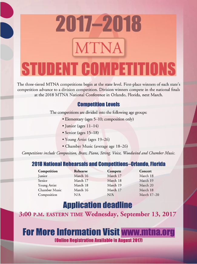 2017 2018 Mtna Competition Season Indiana Music Teachers Association